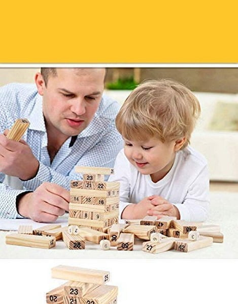 Puzzle Stacking Game Tumbling Tower Numbered Wooden Blocks with 4 Dices (22.5 x 6.7 x 6.7 cm, 51 Pieces)