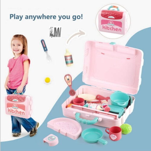 Kitchen Pretend Play Set Accessories Realistic Food Toys for Kids Boys and Girls Toddlers 3-in-1 Little Chef Kitchen Playset