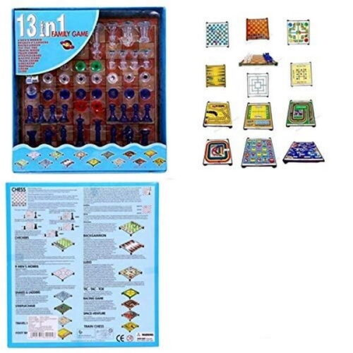 Chess Board Family Game,13 in 1 Magnetic Ludo Chess Snacks and LADDERS Set - Multi Color