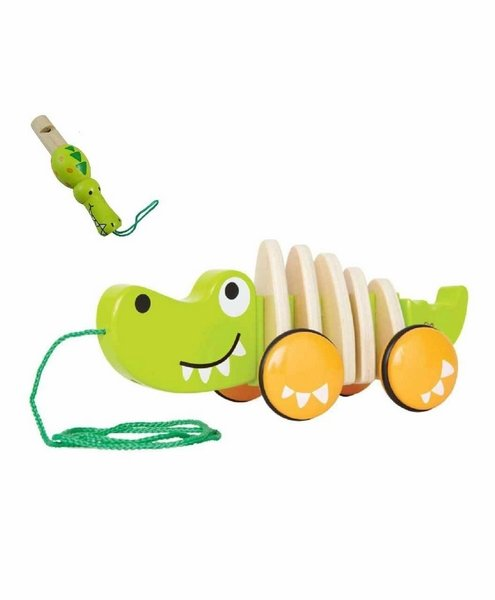 Wooden Crocodile Pull Along Toy with Whistle (Color May Vary)