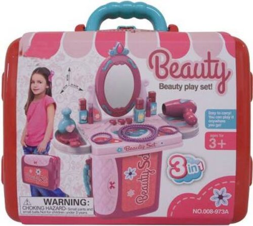 Girls Makeup Toys Kids Toy Pretend Play Set Makeup Toys in Suitcase 3 in 1 Beauty Set