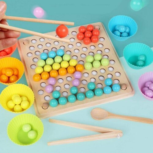 Wooden Montessori Chopsticks Beads Holder Wooden Cup Puzzle Toy - EK1496