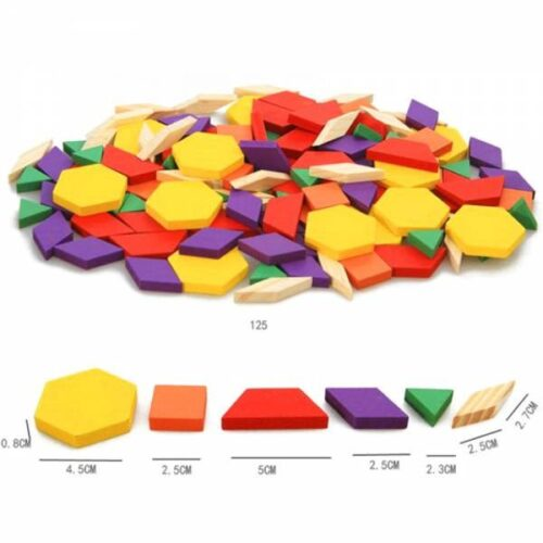 125 Pcs Block Cube Educational Toy Wooden Puzzle Game for Kids - EK1497