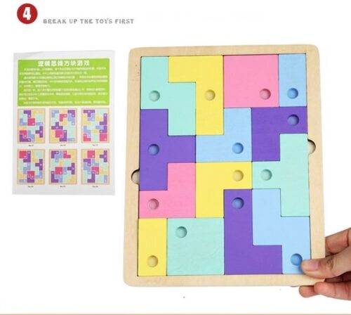 wooden Puzzle/Hand Grab Wooden Tetris Matching Puzzle Educational Toy Child Gift - EK1499