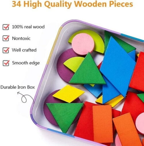 Extrokids Wooden Pattern Blocks Jigsaw Puzzle Sorting and Stacking Games Montessori Educational Toys for Toddlers Kids Boys Girls Age 3+ Years Old and Classroom (34 Shape Pieces& 60 Cards in Iron Box) EK1501