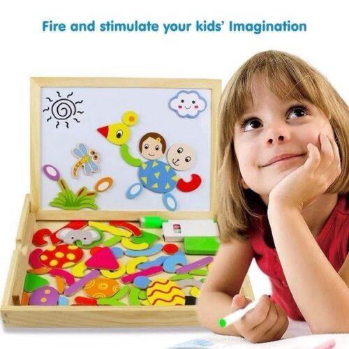 Extrokids Fantastic Wooden Multipurpose Easel Children's Jigsaw Puzzle Drawing Board Wooden Toy EK1503