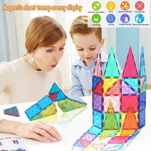 Extrokids Wooden Prince Save Princess  Preschool Educational Kids Building Blocks Puzzle Game - 48 Solutions of Puzzles Prince Saves Princess - Colorful Paint Wooden Geometry Construction Toys Set for Boys & Girls - EK1585
