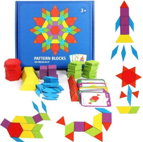 Extrokids 155 Pcs Wooden Pattern Blocks Set Geometric Shape Puzzle Kindergarten Classic Educational Montessori Tangram Toys for Kids Ages 4-8 with 24 Pcs Design Cards EK1516