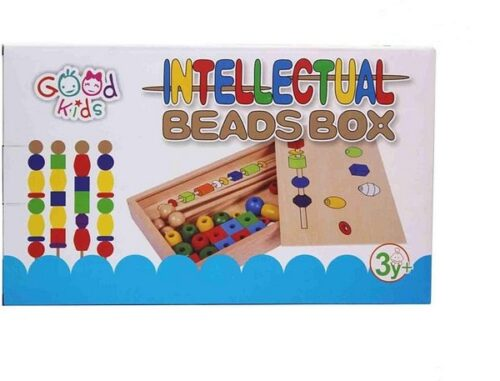 Extrokids Intellectual Beads Box Wooden Large Beads Child Early Learning and Educational Toys EK1517