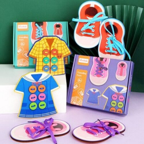 Extrokids Wooden Shoes With Sewing Button Game Childrens Early Education Educational Thread Toys Baby Gift EK1520