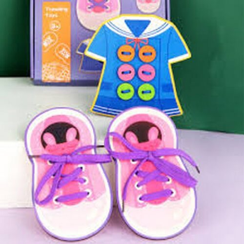 Extrokids Wooden Shoes With Sewing Button Game Childrens Early Education Educational Thread Toys Baby Gift EK1521