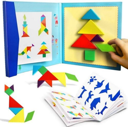 Extrokids  Tangram Travel Game Magnetic Puzzle Book Game Tangrams Jigsaw Shapes Dissection with Solution Questions Traveler Challenge IQ Educational Toy for 3-99 Years. EK1523