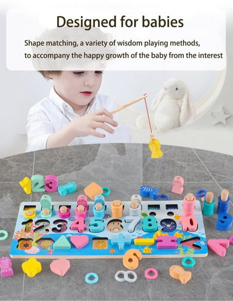 Extrokids Multi Function Log Board Early Education Of Children's Montessori Six In One Fishing Figure Matching Toy Puzzle Gift For kids EK1525
