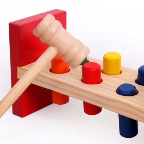 Extrokids Wooden Table Piling Toy for Kids Colorful Piling Blocks with Two Hammer Learning Puzzle Educational Toy for Children Girl Boy  Toddlers EK1528