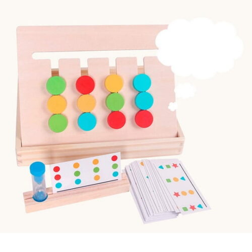 Extrokids  Kids Four-Color Wooden Puzzle Game Enlightenment Puzzle Logic Thinking Training Toy Wood Color Sorting Game with Color Cards EK1529
