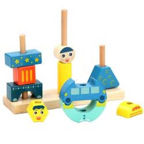 Extrokids Childrens Creative Wooden Tower Blocks Toys Sun & Moon Day & Night Pillar Wood Building Block Game Educational Toys For Kids EK1530