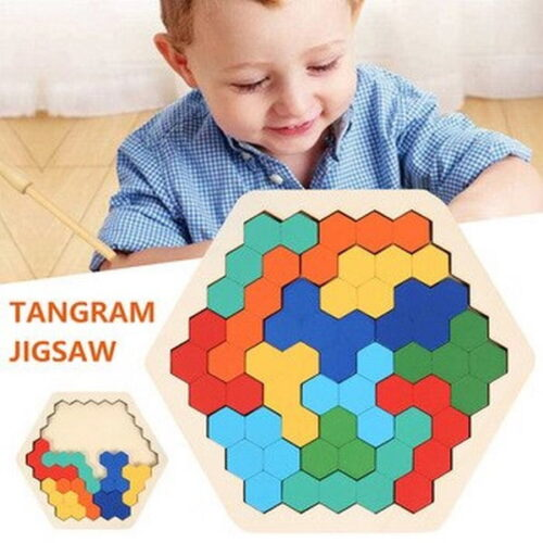 Extrokids Puzzle Hexagon Fun Geometry Logic 3D Wooden Puzzle Table IQ Game Montessori Educational Toys EK1531