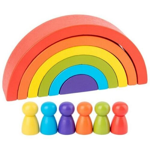 Wooden 6pc Rainbow Stacking Blocks with 6 Pcs doll small  Fun Building Nesting Toys for Kids  - EK1574