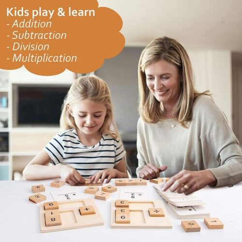 Extrokids Wooden count plate  - Preschool Early Learning Toys - Wooden Number Blocks & Math Flash Cards for Addition, Subtraction, Division and Multiplication Kids  Educational Toys - EK1576