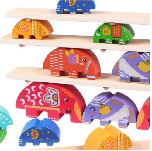 Extrokids Wooden elephant stacking blocks  High To Build Balance Building Blocks Boy And Girl Early Education Parent-Child Interactive Wooden Toys - EK1579