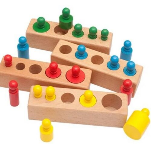 Extrokids Wooden knob cylindrical block 4 colour Montessori Materials  and  Colorful Socket Cylinder Block For Children Educational Preschool Early Learning Toy for kids - EK1582