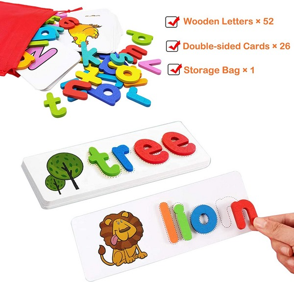 Extrokids Wooden learn and write phonics Spelling Game ...