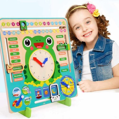 Extrokids Wooden multifunction calendar Clock Set for Children understand month, day, weather ,Time Cognitive Matching  Kids Early Learning Education Toys   - EK1584