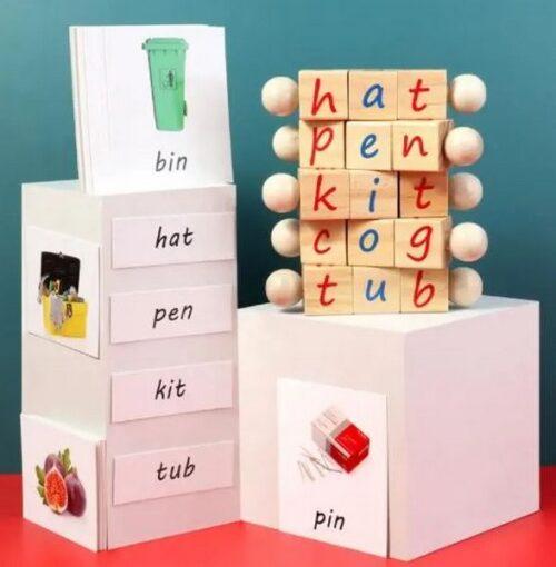 Extrokids Wooden alphabet cube Apple picking game kindergarden childrens cognitive digital teaching aids puzzle toys - EK1591
