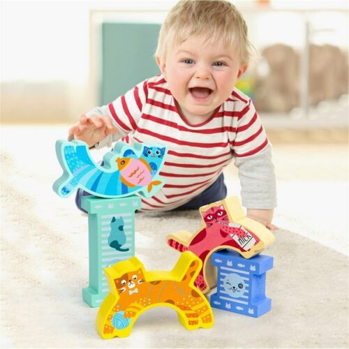 Extrokids Wooden kitten balance game Kids Creative Cat  Building Blocks Smooth Stacking Toy Game  - EK1592