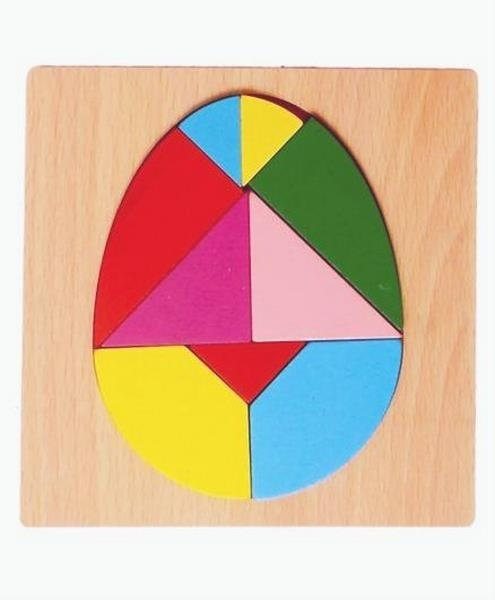 Extrokids Wooden 6X6 PUZZLE XJ Egg Shaped  Colorful Learning  Jigsaw Puzzle Educational  Board  Toys for Kids  - EK1612