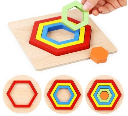 Extrokids Wooden Rainbow 5 Color Board Hexagonal Puzzle - EK1616