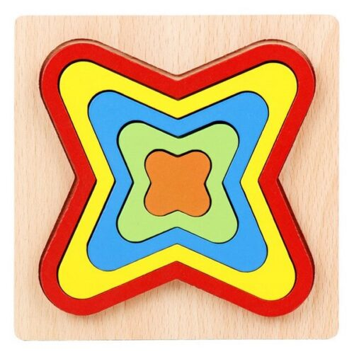 Extrokids Wooden Rainbow 5 Color Board Geometric Puzzle - EK1619
