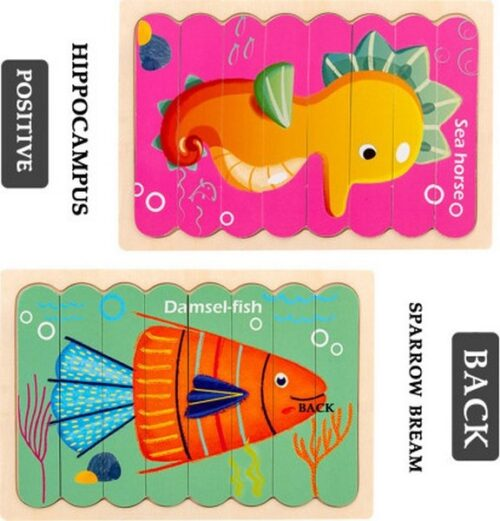 Extrokids  Wooden Double Sided  8Pc  Stick Puzzle Damsel Fish With Sea Horse  Jigsaw Puzzles for Toddler Pattern Blocks Sorting and Stacking Toys Peg Puzzles Montessori Educational Preschool Learning Creative Strip Puzzle Toys for Kids Age 3+ Years Old  - EK1632