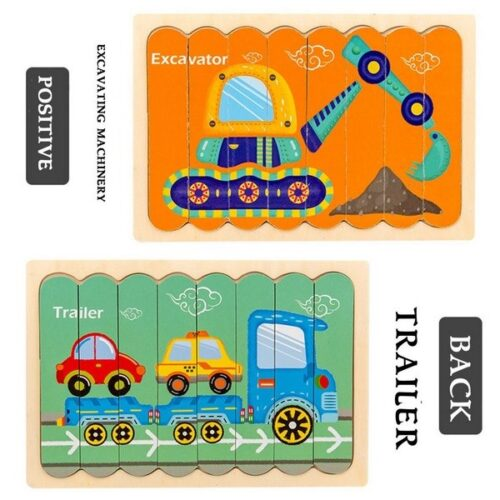 Extrokids Wooden Double Sided   8Pc  Stick Puzzle Trailer With Excavator Jigsaw Puzzles for Toddler Pattern Blocks Sorting and Stacking Toys Peg Puzzles Montessori Educational Preschool Learning Creative Strip Puzzle  Toys for Kids Age 3+ Years Old  - EK1633