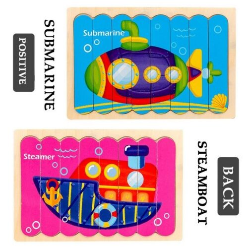 Extrokids Wooden  Double Sided   8Pc  Stick Puzzle  Submarine With Steamer Jigsaw Puzzles for Toddler Pattern Blocks Sorting and Stacking Toys Peg Puzzles Montessori Educational Preschool Learning Creative Strip Puzzle Toys for Kids Age 3+ Years Old  - EK1634