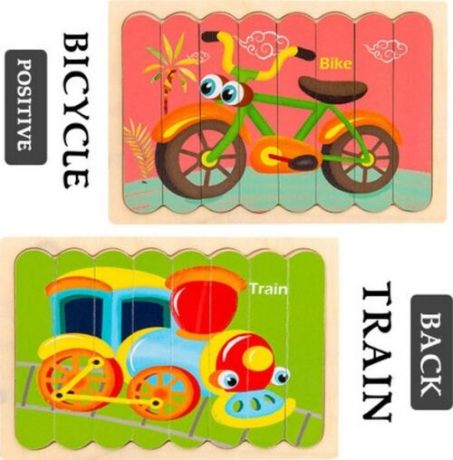 Extrokids Wooden Double Sided  8Pc  Stick Puzzle  Bike With  Train Jigsaw Puzzles for Toddler Pattern Blocks Sorting and Stacking Toys Peg Puzzles Montessori Educational Preschool Learning Creative Strip Puzzle Toys for Kids Age 3+ Years Old  - EK1635