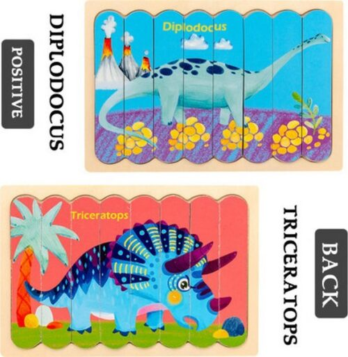 Extrokids Wooden Double Sided  8Pc  Stick Puzzle  Diplodocus With Triceratops  Jigsaw Puzzles for Toddler Pattern Blocks Sorting and Stacking Toys Peg Puzzles Montessori Educational Preschool Learning Creative Strip Puzzle Toys for Kids Age 3+ Years Old  - EK1636