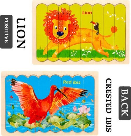 Extrokids Wooden Double Sided  8Pc  Stick Puzzle Lion  With Red ibis Jigsaw Puzzles for Toddler Pattern Blocks Sorting and Stacking Toys Peg Puzzles Montessori Educational Preschool Learning Creative Strip Puzzle Toys for Kids Age 3+ Years Old  - EK1638