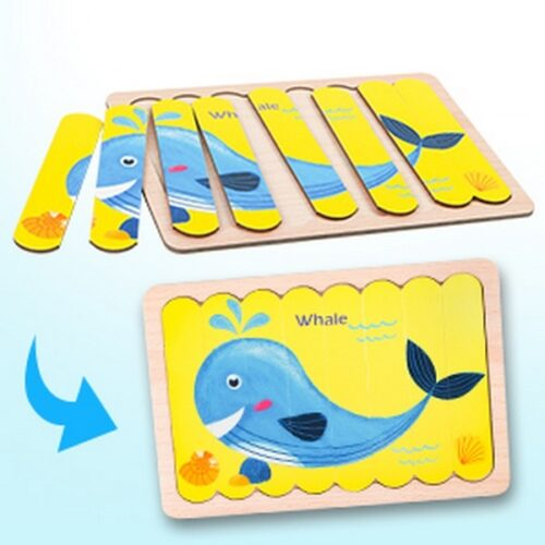 Extrokids Wooden Double Sided  8Pc  Stick Puzzle Sea Turtile With Whale  Jigsaw Puzzles for Toddler Pattern Blocks Sorting and Stacking Toys Peg Puzzles Montessori Educational Preschool Learning Creative Strip Puzzle Toys for Kids Age 3+ Years Old  - EK1639