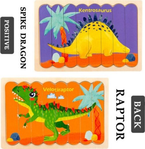 Extrokids Wooden Double Sided  8Pc  Stick Puzzle   Kentrosaurus With Velociraptor   Jigsaw Puzzles for Toddler Pattern Blocks Sorting and Stacking Toys Peg Puzzles Montessori Educational Preschool Learning Creative Strip Puzzle Toys for Kids Age 3+ Years Old  - EK1641
