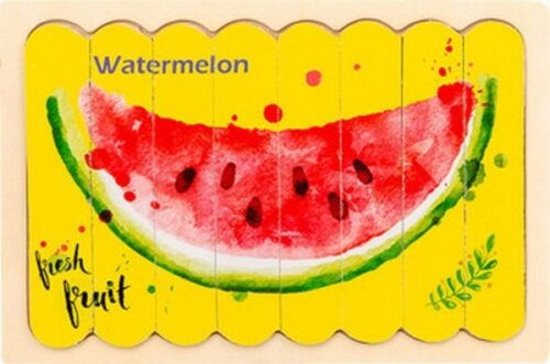 Extrokids Wooden Double Sided  8Pc  Stick Puzzle Lemon With Watermelon  Jigsaw Puzzles for Toddler Pattern Blocks Sorting and Stacking Toys Peg Puzzles Montessori Educational Preschool Learning Creative Strip Puzzle Toys for Kids Age 3+ Years Old  - EK1642