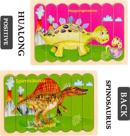Extrokids  Wooden Double sided  8Pc  Stick Puzzle  Spinosaurus With Huayangosaurus Jigsaw Puzzles for Toddler Pattern Blocks Sorting and Stacking Toys Peg Puzzles Montessori Educational Preschool Learning Creative Strip Puzzle  Toys for Kids Age 3+ Years Old  - EK1644
