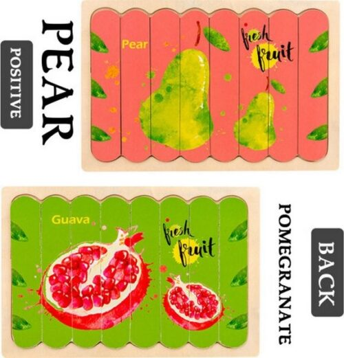 Extrokids Wooden Double Sided  8Pc  Stick Puzzle Pear with Pomegranate  Jigsaw Puzzles for Toddler Pattern Blocks Sorting and Stacking Toys Peg Puzzles Montessori Educational Preschool Learning Creative Strip Puzzle  Toys for Kids Age 3+ Years Old  - EK1645