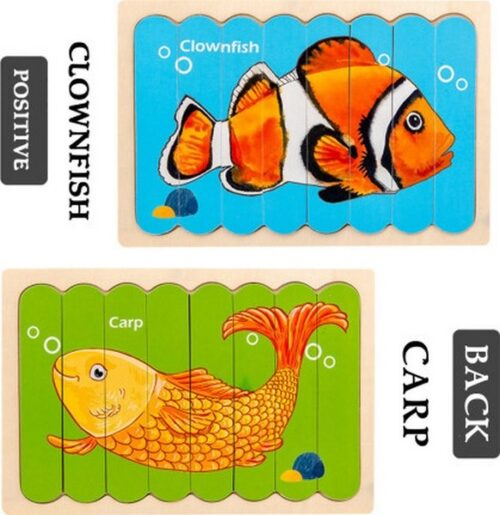 Extrokids Wooden Double Sided  8Pc  Stick Puzzle Carp with Clownfish  Jigsaw Puzzles for Toddler Pattern Blocks Sorting and Stacking Toys Peg Puzzles Montessori Educational Preschool Learning Creative Strip Puzzle  Toys for Kids Age 3+ Years Old  - EK1646