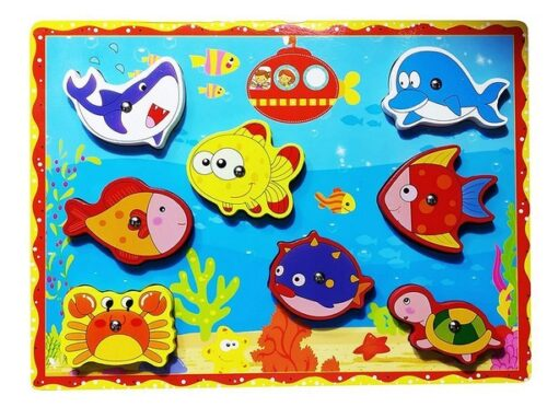 Extrokids Wooden Sea Animal Set of 1 Magnetic Fishing Game Toy for Learning Education with Magnet Poles Toy Toddler Preschool and 2 3 4 Year Old Girls Boys Kids Birthday Gift  - D2 -  EK1653