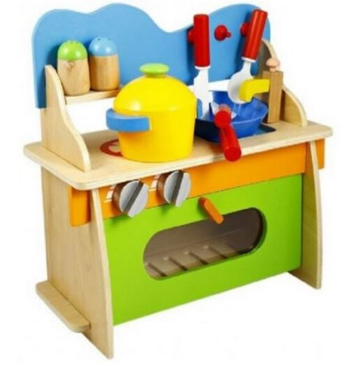 Extrokids Wooden 3D Assembled Pretend Play Cooking Kitchen Set Toy with Accessories for Kids - EK1663