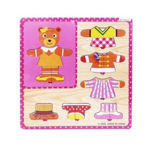 Extrokids Wooden Dressup Puzzle Board - Bear - EK1669