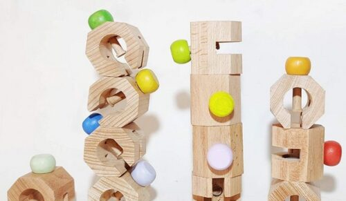 Extrokids 12 Pc Wooden Connectable Chain Educational and Learning Toys - EK1686