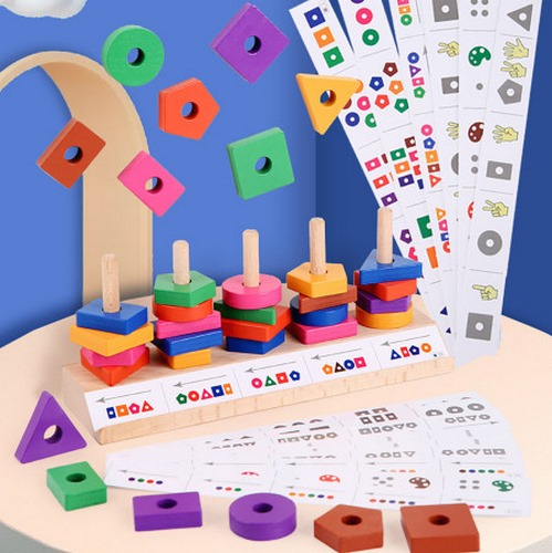 Extrokids Wooden Building Block with Multi Colour Matching Puzzle Game - EK1707