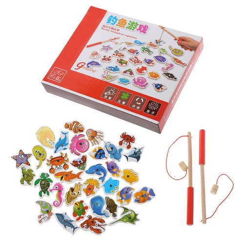 Extrokids Wooden Sea animals with Magnetic Stick Fishing Game - EK1711